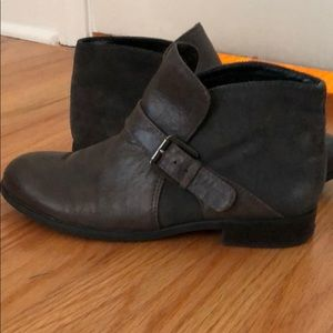 Franco Sarto Gray Suede Flat Ankle Booties